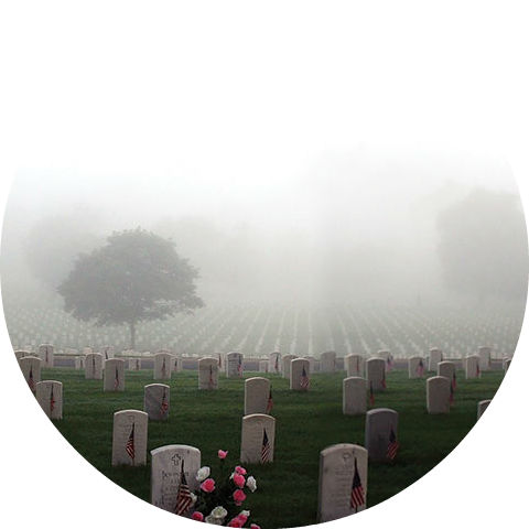 foggy view of cemetery on Memorial Day