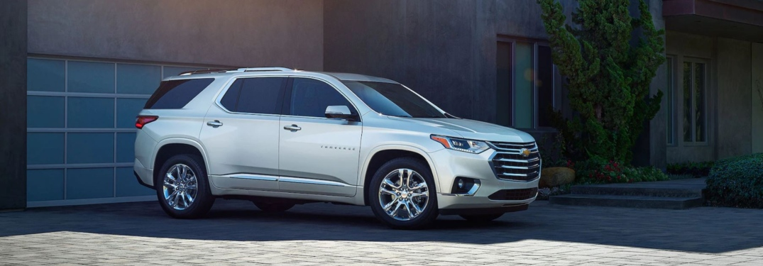 Side view of a silver 2019 Chevy Traverse