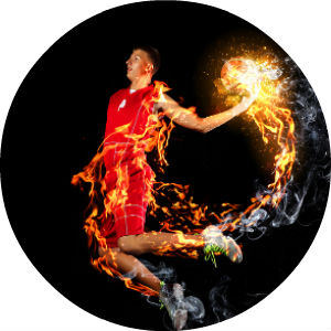 Basketball Player in Red uniform on Fire and Dunking Flaming Basketball