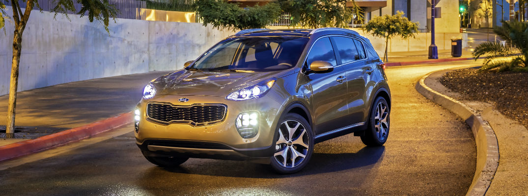 Bronze 2017 Kia Sportage SX Turbo at Night on City Street