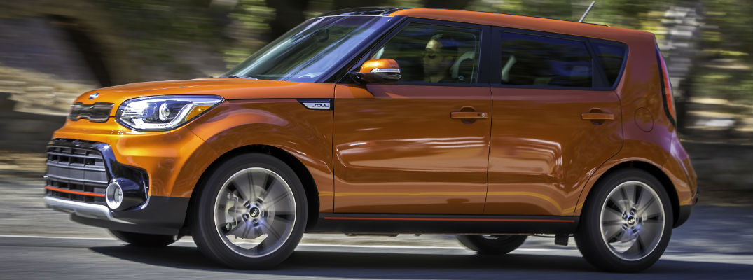 Orange 2017 Kia Soul on Highway