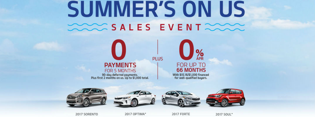 2017 Kia Summer's On Us Sales Event Banner with Blue Sky, Cl;ouds and Soul, Sorento, Forte and Optima