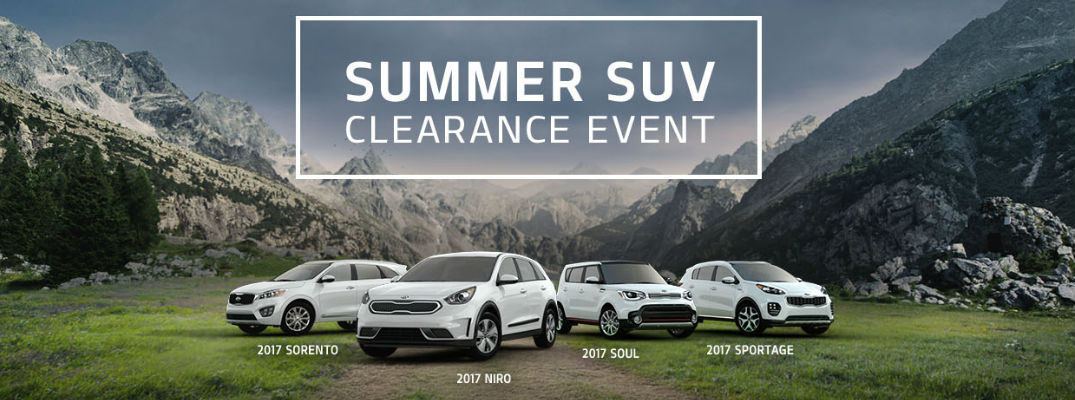 Banner for Kia Summer SUV Clearance Event with White Kia Soul, Niro, Sorento and Sportage