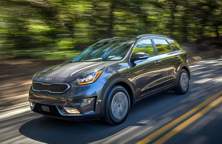2018 Niro driving down a wooded road