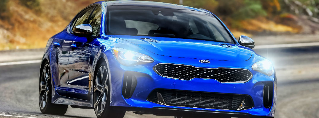 2018 Kia Stinger Blue Exterior with Headlights On
