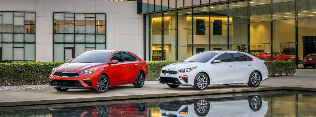 2019 Kia Forte in Red and White Exterior Paints