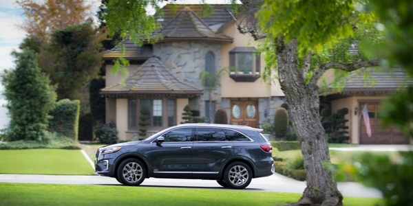 2019 Kia Sorento Side View of Exteior with House and Green Scenery