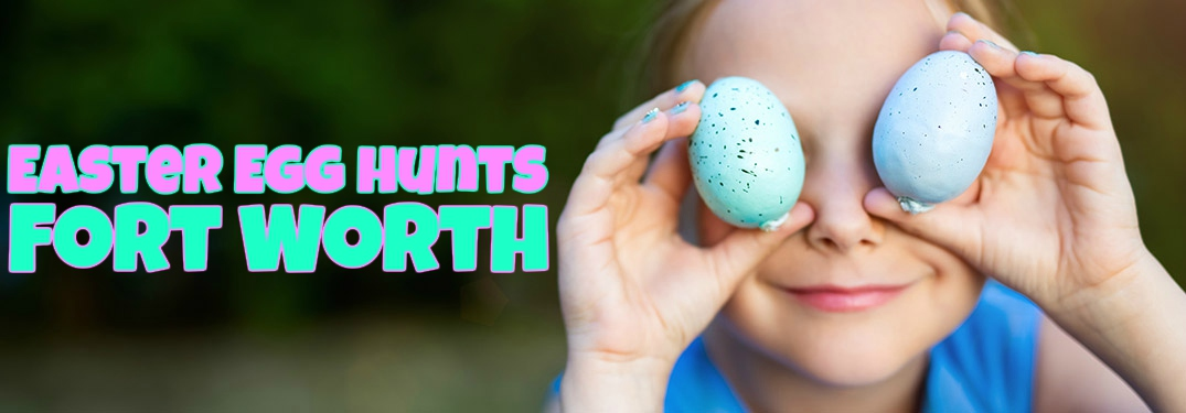 Easter egg hunts in Fort Worth with a kid holding eggs in front of his eyes