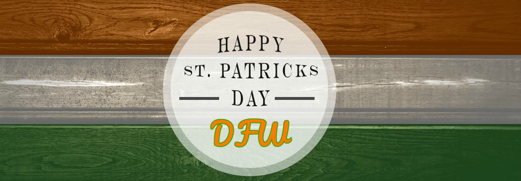 Happy St. patrick's Day DFW on wood background