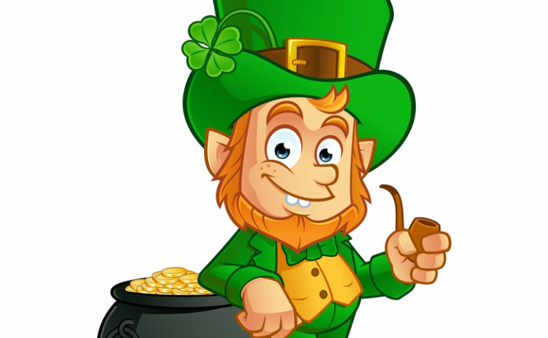 Leprechuan with a pot of gold and a pipe