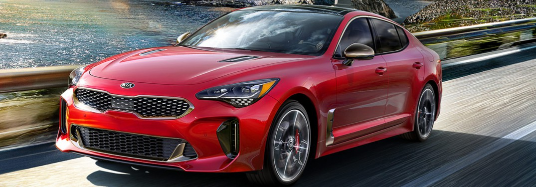 red 2018 Kia Stinger front side view