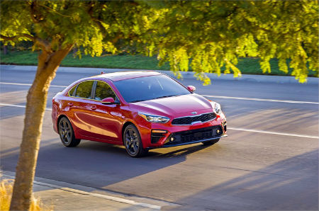 2019 Kia Forte exterior front fascia and passenger side on road with tree