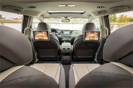 2019 Kia Sedona interior back cabin looking up to the front with touchscreens on back of seat