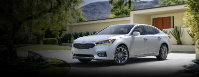 Silky Silver 2018 Kia Cadenza exterior front fascia and drivers side in front of building