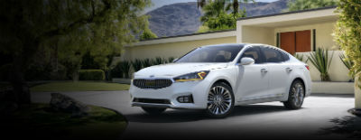 Snow White Pearl 2018 Kia Cadenza exterior front fascia and drivers side in front of building