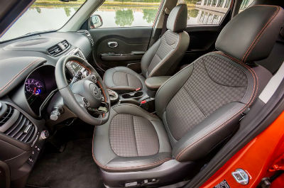 2018 Kia Soul interior front cabin seats and steering wheel side view