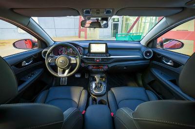 2019 Kia Forte interior front cabin steering wheel and dashboard