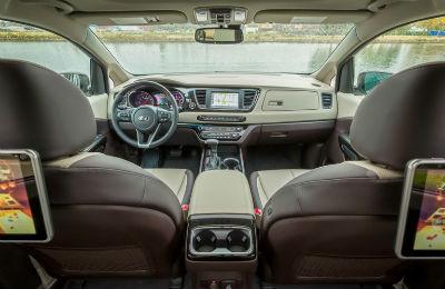 2019 Kia Sedona interior front cabin seats steering wheel and dashboard