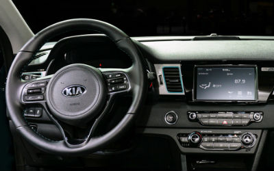 2019 Kia Niro EV interior front cabin steering wheel and partial dashboard