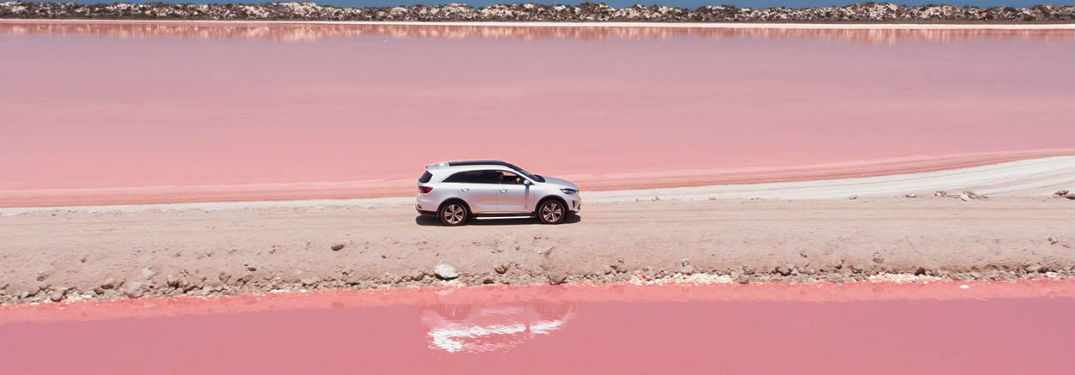 2019 Kia Sorento exterior passenger side profile on dirt road and pink water