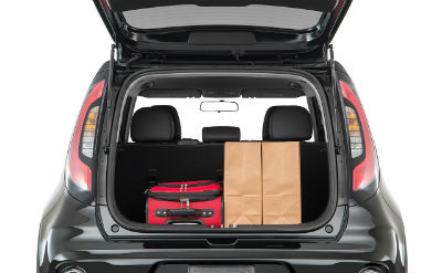 2019 Kia Soul exterior back fascia trunk open with bags inside