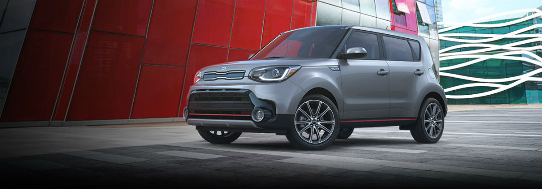 2019 Kia Soul exterior front fascia and drivers side near city building