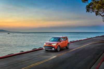 2019 Kia  Soul exterior front fascia  and drivers side on ocean side highway