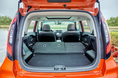 2019 Kia Soul exterior open trunk  looking into cargo space rear seats folded