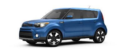 Caribbean Blue 2019 Kia Soul exterior front fascia and drivers side