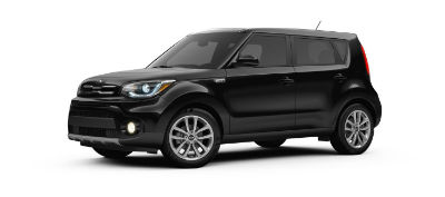 Shadow Black 2019 Kia Soul exterior front fascia and drivers side