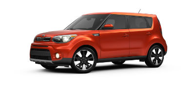 Wild Orange 2019 Kia Soul exterior front fascia and drivers side