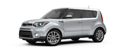 bright silver 2019 Kia Soul exterior front fascia and drivers side
