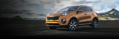 burnished copper 2019 Kia Sportage exterior front fascia and drivers side