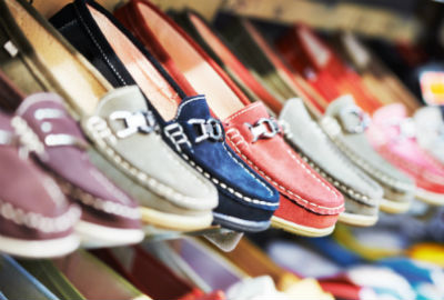 hanging row of slip on shoes