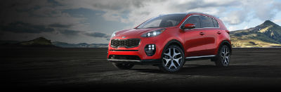hyper red 2019 kia sportage exterior front fascia and drivers side
