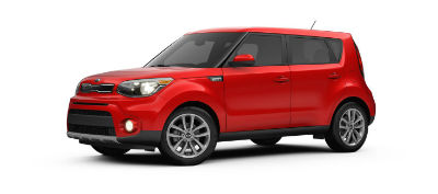2019 Kia Soul exterior front fascia and drivers side inferno red