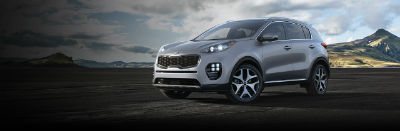 mineral silver 2019 Kia Sportage exterior front fascia and drivers side