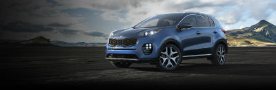 pacific blue 2019 Kia Sportage exterior front fascia and drivers side