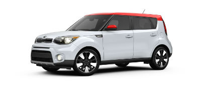 redwhite 2019 Kia Soul exterior front fascia and drivers side
