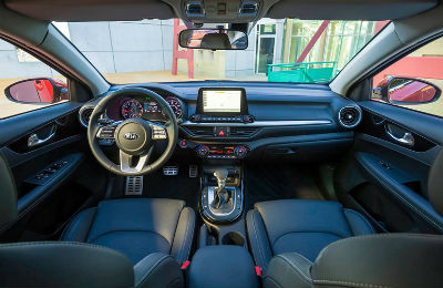 2019 Kia Forte interior front cabin seats steering wheel and dashboard