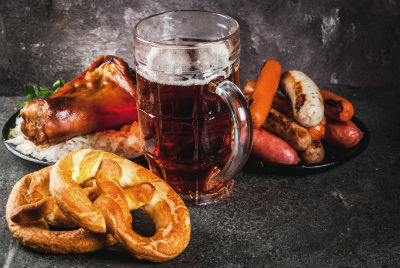 Selection of food for Oktoberfest