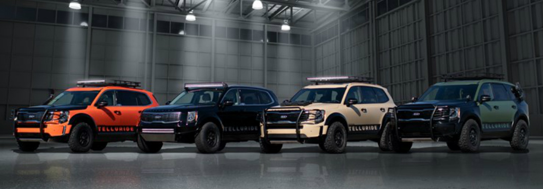 Four custom Kia Telluride models at the 2018 SEMA show