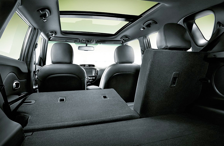 2019 Kia Soul cargo space with some rear seats folded flat