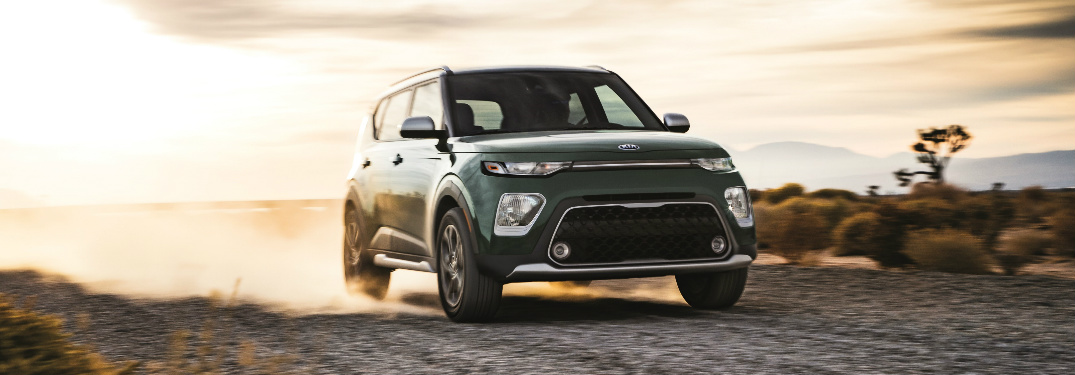 2020 Kia Soul on a gravel path in the desert