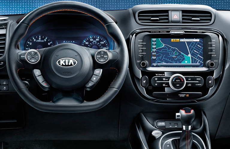 2019 Kia Soul steering wheel and touchscreen display