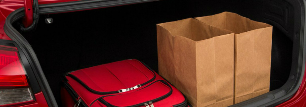Grocery bags in the back of the Kia FOorte