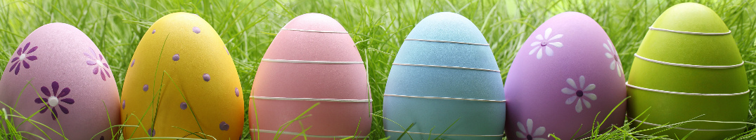 Colored Easter eggs sitting in a line in the grass