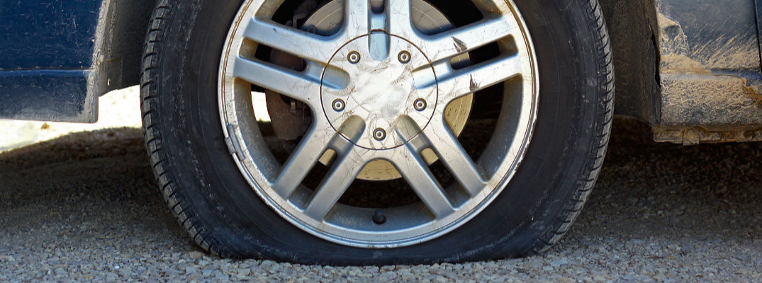 Closeup of car flat tire