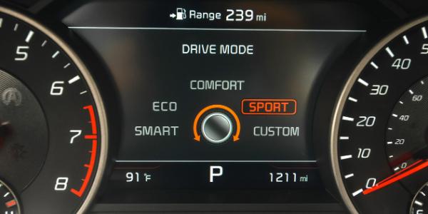 2020 Kia Stinger GT2 dashboard showing drive mode options