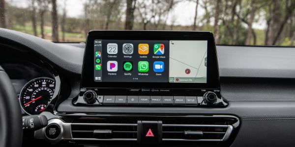 Closeup of 2021 Kia Seltos touchscreen